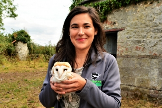 EVS Volunteer, Solene with barn owl chick