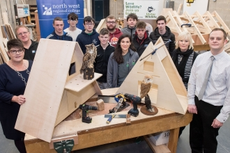 Barn owl nest boxes designed and donated by students from NWRC