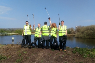 Litter picking at Bog Meadows Nature Reserve
