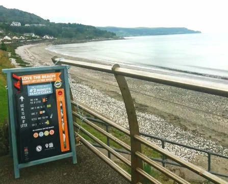Beach clean board at Glenarm